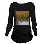 Coot on Pond Long Sleeve Maternity T-Shirt