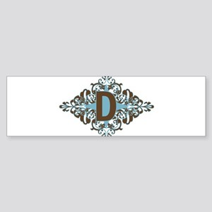 D Monogram Personalized Letter Bumper Sticker