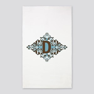 D Monogram Personalized Letter 3'x5' Area Rug