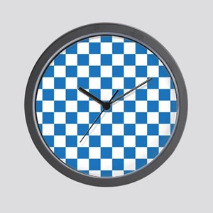 BLUE AND WHITE Checkered Pattern Wall Clock