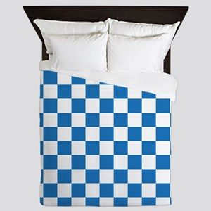 BLUE AND WHITE Checkered Pattern Queen Duvet