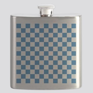 BLUE AND WHITE Checkered Pattern Flask