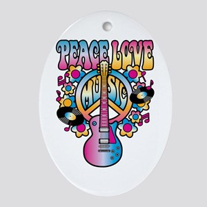 Peace Love & Music Ornament (Oval)