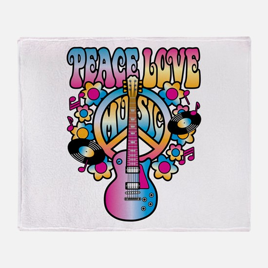 Peace Love & Music Throw Blanket
