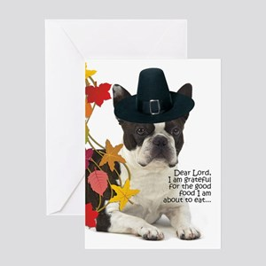 Funny Boston Terrier Thanksgiving Greeting Cards
