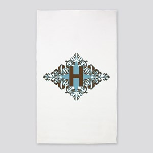 H Monogram Personalized Letter 3'x5' Area Rug