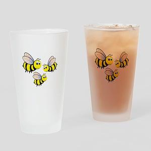 Three Bees Drinking Glass