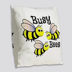 Busy Bees Burlap Throw Pillow