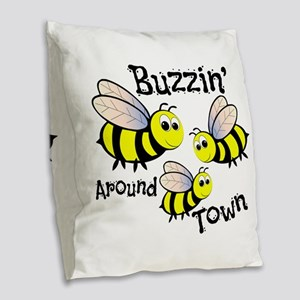Buzzin Around Burlap Throw Pillow