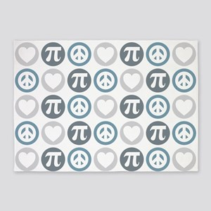 Peace Love Pi Pattern 5'x7'Area Rug