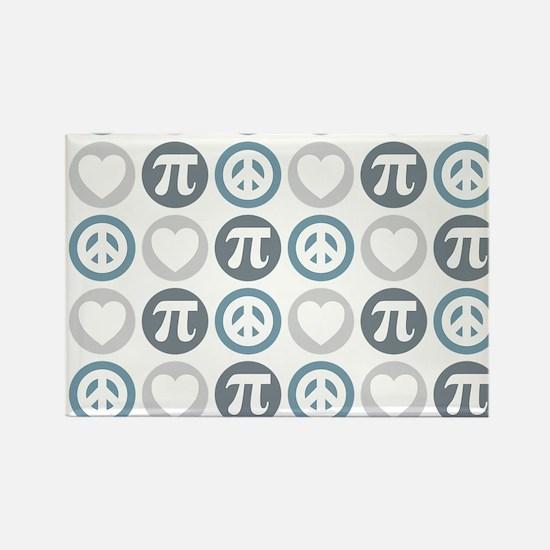 Peace Love Pi Pattern Rectangle Magnet