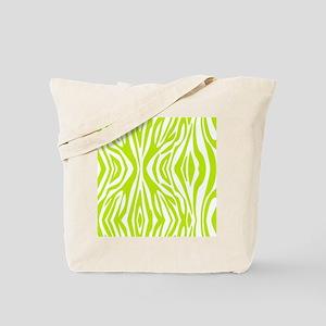 Lime Green and White Zebra Print Tote Bag