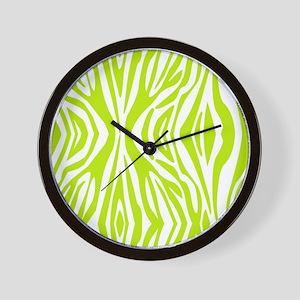 Lime Green and White Zebra Print Wall Clock