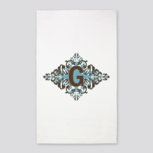 G Monogram Personalized Letter 3'x5' Area Rug