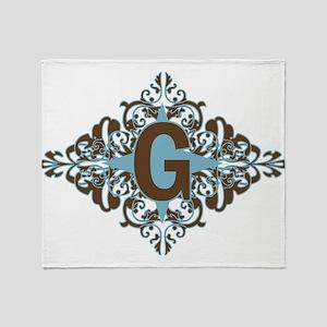 G Monogram Personalized Letter Throw Blanket