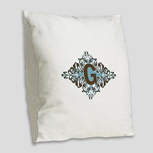 G Monogram Personalized Letter Burlap Throw Pillow