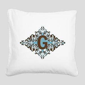 G Monogram Personalized Lette Square Canvas Pillow
