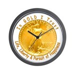 Gold Liberty with Motto on Wall Clock