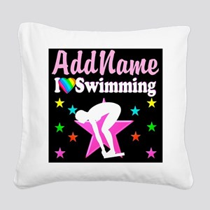 AWESOME SWIMMER Square Canvas Pillow