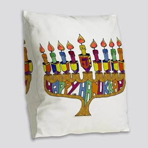 Happy Hanukkah Dreidel Menorah Burlap Throw Pillow