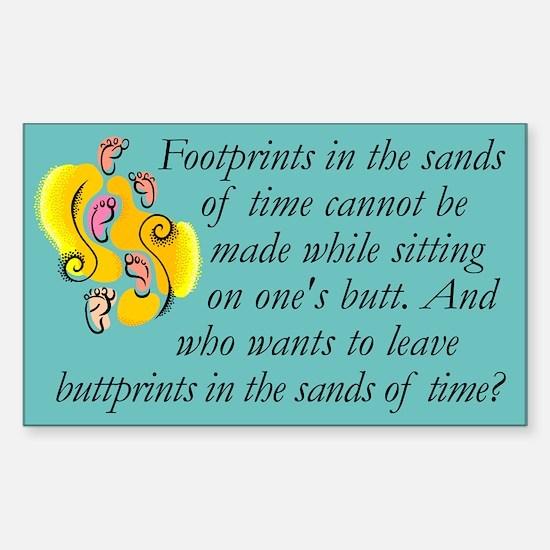 Rectangle Sticker. Footprints not buttprints.