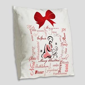 The gift of Christmas Burlap Throw Pillow