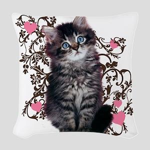 Cute Kitten Kitty Cat Woven Throw Pillow