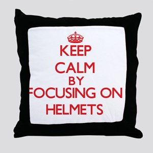Keep Calm by focusing on Helmets Throw Pillow