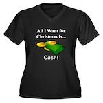 Christmas Ca Women's Plus Size V-Neck Dark T-Shirt