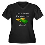 Christmas Ca Women's Plus Size V-Neck Dark T-Shirt