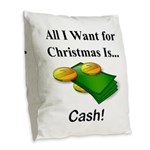 Christmas Cash Burlap Throw Pillow