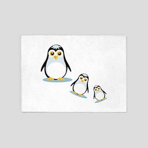 Happy Penguin Family 5'x7'Area Rug