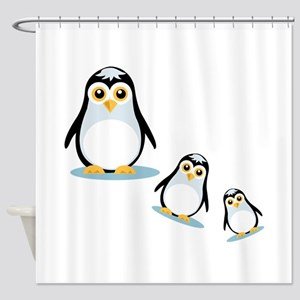 Happy Penguin Family Shower Curtain
