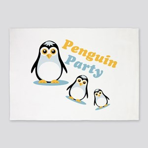 Penguin Party 5'x7'Area Rug