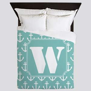Nautical Letter W Monogram Queen Duvet