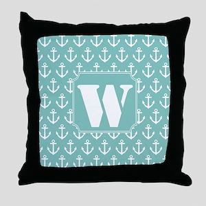 Nautical Letter W Monogram Throw Pillow