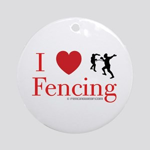 I Love Fencing Round Ornament