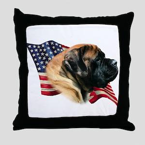 Mastiff(apr) Flag Throw Pillow
