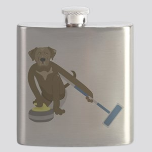 Chocolate Lab Curling Flask
