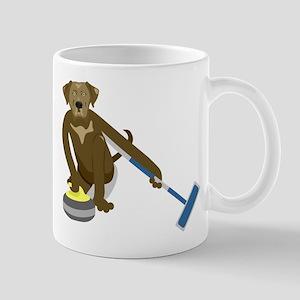 Chocolate Lab Curling Mug