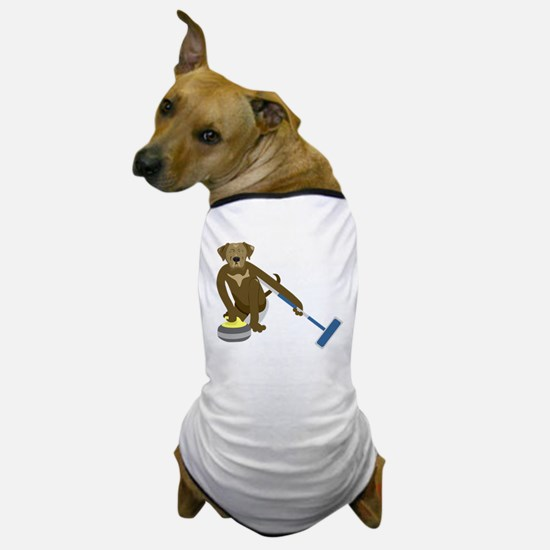 Chocolate Lab Curling Dog T-Shirt