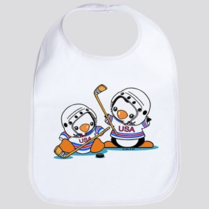 Ice Hockey Penguins (1) Cotton Baby Bib