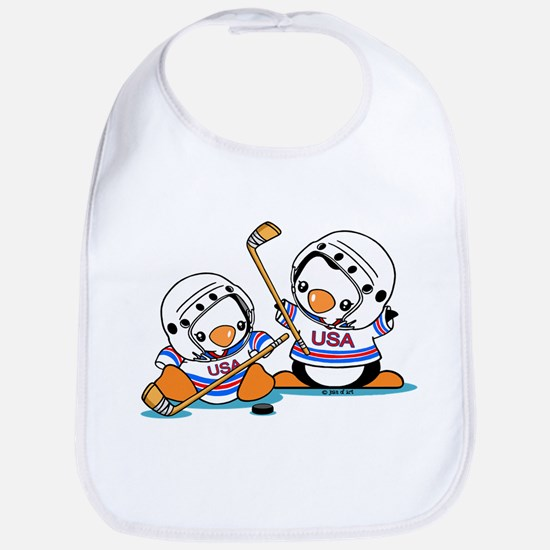 Ice Hockey Penguins (1) Cotton Baby Bib