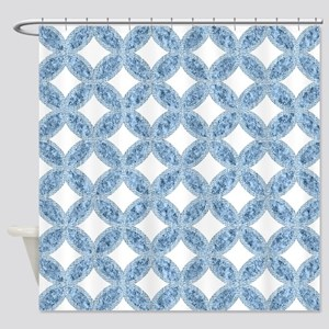 Quilted Diamond Leaf Blue Shower Curtain
