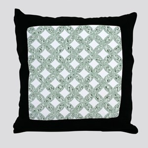 Quilted Diamond Leaf Sage Throw Pillow