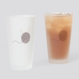 Knit Needles Ball Drinking Glass