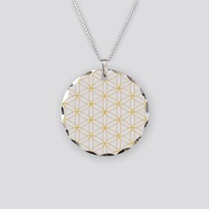 Flower of Life Gold Line Necklace Circle Charm