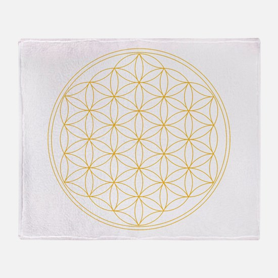 Flower of Life Gold Line Throw Blanket