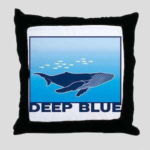 Deep Blue Sea Whale Design Throw Pillow