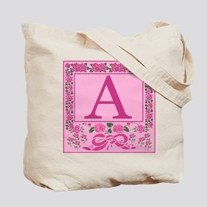 Letter A Pink Ribbons And Roses Monogram Tote Bag